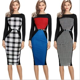 Wholesale Long Sleeve Colorblock Dress - Womens Autumn Elegant Belted Long Sleeve Colorblock Tunic Business Work Office Party Bodycon Pencil Sheath Wiggle Dress Plus Size S-XXL