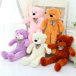 "Wholesale Skin Birthday Gift - Wholesale-140cm Bear Skin Giant Teddy Bear Stuffed Animal Plush Soft Toys Valentine Christmas Birthday Gift 47"" Huge Big Bear Doll"