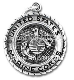 Wholesale Marines Charms - 30Pcs Lot classic antique silver plated US marine corps badge charms