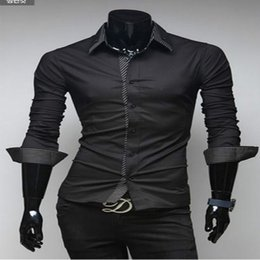 Wholesale Decorated Collar Shirt - Free shipping 2015 hot new fashion characteristic double collar decorated casual men's striped long-sleeved shirt FG1511