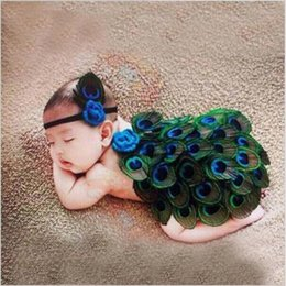 Wholesale Baby Girl Year Outfits - Peacock Style Newborn Baby Photography Props Cute Animal Feather Design Photo Props with Headband New Hot Sale Costume Outfit hight quality