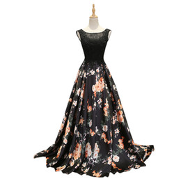 Wholesale Printed Satin Prom Dresses - Jane Vini 2018 Black Floral Prom Dresses Long Beaded Lace Evening Gowns A Line Sleeveless Girls Flowers Pattern Satin Dinner Party Dress