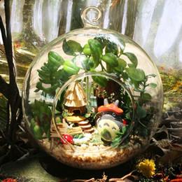 construir casa de vidrio Rebajas Diy Doll House Mini Glass Ball Model Kits de construcción Hecho a mano de madera miniatura Dollhouse Toy Christmas Gift -Duendes de Tribal