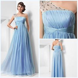 Wholesale Empire Waist One Shoulder Dress - 2015 Latest One Shoulder See Through Strap Empire Waist Evening Dresses Crystal Prom Dresses