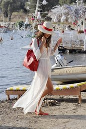 Wholesale Womens Long Maxi Dresses - New Hot Womens White Chiffon Bikini Coverups Split Maxi Long Sleeves Robe Soft Smooth Casual Boho High Quality Vacation Beachwear Dress 839