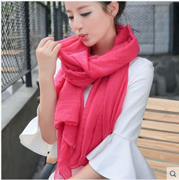 Wholesale Winter Scarf Long - 2015 Long All Match Female Literary Pure Linen Scarf Shawl Scarves Dual-purpose Korean wholesale For Spring And Winter
