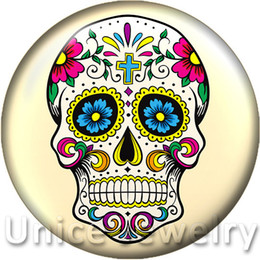Wholesale Glasses Design Bracelet - AD1301218 18mm Snap On Charms for Bracelet Necklace Hot Sale DIY Findings Glass Snap Buttons Jewelry Halloween skull Design noosa