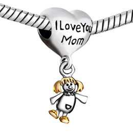 Wholesale Pandora Dangle Girl Charm - Alloy Material With Rhodium Plating Dangle Little girl I love you MOM Charm fit Pandora Chamilia Biagi bracelet