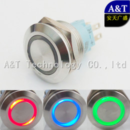 Wholesale Push Button Switch Momentary Blue - 22mm Three color RGB LED Momentary ON OFF Push Button 12V 24V 220V Red Blue Green illuminated Metal Stainless Steel Switch