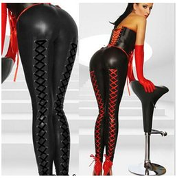 Wholesale Plus Size Leather Catsuit - Plus Size Hot Selling Ladies Sexy Black Red Latex Women Body Suits Jumpsuits Flexible Exotic Apparel rubber catsuit free shipping