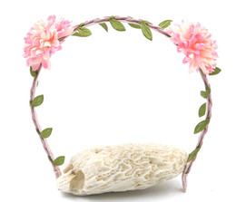 Wholesale Braided Hair Designs - New Hot Personality Design Floral Children's Headband With Braided Leather Leaf Flower Cat Ears Hair Accessories Christmas Gift