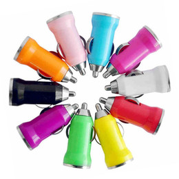Wholesale Blackberry 3g Mobile - Colorful Mini USB Car Charger For IPhone 5 5s 4 4G 3G IPod ITouch HTC Samsung mobile phone chargers