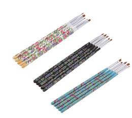 Wholesale Nail Art Brush Set Dhl - Hot sale Nail brushes Fashion New 5PCS set Nail Art Wood UV Gel Salon Pen Flat Brush Kit Dotting Nail styling Tools DHL free shipping