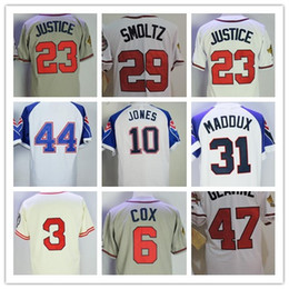 Wholesale Hank Aaron Baseball - Throwback Atlanta Baseball Jerseys 44 Hank Aaron 3 Dale Murphy 31 Greg Maddux 29 John Smoltz 10 Chipper Jones 47 Tom Glavine Jerseys
