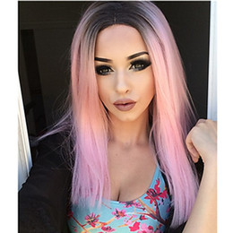 Wholesale Hot Pink Long Wigs - Hot Selling Party Wigs Heat Resistant Black Pink Long Silky Straight Ombre Synthetic Wigs Glueless Lace Front Wigs for Black Women