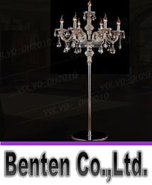 Wholesale Floor Stand Lamps - llfa787 7 heads crystal light Luxury crystal floor lamp bedroom candle floor lamp Crystal Vintage luxury standing floor lamps
