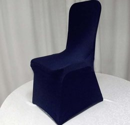 Wholesale Flat Chair - Navy Blue Lycra Spandex Chair Cover Flat Front Stretch Spandex Lycra Chair Cover For Hotel Banquet Wedding Decoration
