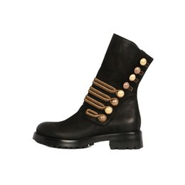 Wholesale thick british women - Retro British Stylish Motorcycle Boots Thick Heel Pearl Button Knight Boots Scrub Ankle Boots For Women