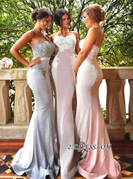 Wholesale Black Long Gorgeous Prom Dress - 2018 New Gorgeous Sweetheart Mermaid Bridesmaid Dresses Lace Applique Floor Length With Sashes Custom Made Cheap Prom Party Gowns Wedding