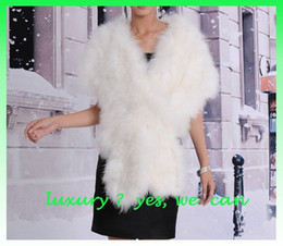 Wholesale Ostrich Feather Shawl White - Wholesale-Free shipping 2015 new wholesale & Retail ladies waistcoat fur vest Ostrich feather shawls long shawls many color