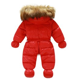 Wholesale Baby Snow Gloves - Wholesale-Infant snowsuit 2015 new baby boys girls thickening outfits with gloves feet covers hooded newborn coveralls snow wear