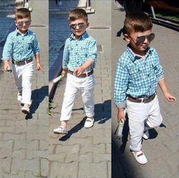 Wholesale Quality Formal Shirts - Gentlemen Brand Boys Clothes 3pcs Sets Shirt+pants+belt Baby Boy Clothing Set Sports Suit Conjuntos Ropa Boys hight quality free shipping