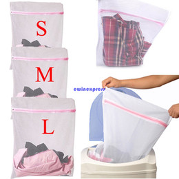 Wholesale Laundry Net Fabric - 3pcs set Practical fabric zipper laundry bags hampers basket mesh net clothes organizer storage washing machine bags size L M S