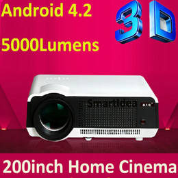 Wholesale Android Tv Rj45 - Wholesale-Free Shipping Android 4.2.2 Wifi Projector 3D 220W High Power LED Lamp 5000 lumens 1280*800 RJ45 HDMI USB VGA AV SD TV