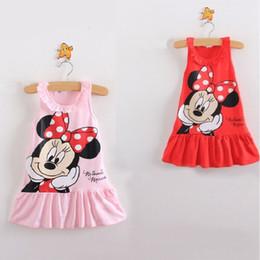 Wholesale Minnie Tank Top - 2016 Pink Red Baby Girls Dresses Minnie Character Sleeveless Tank Tops Children's One-piece Dress Girls Jumper 20pcs lot