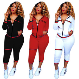 Wholesale Womens Sweat Pants M - Womens Casual Fashion Autumn Long Sleeved Two-piece Jogger Set Ladies Fall Tracksuit Sweat Suits Jacket + Pants