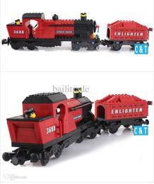Wholesale Train Series Brick - Enlighten 627 3D construction train series Steam Locomotive building block sets children eductional bricks blocks toys 88290
