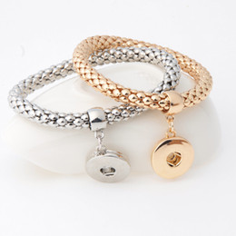 Wholesale 18mm Gold Plated Chain Wholesale - NOOSA DIY Elastic Chain Bracelet Simple Design Gold Silver Plated 18mm Snap Button Bracelet Interchangable Snap Button Charm Jewelry