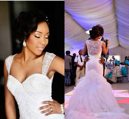 Wholesale New Hot Elegant Bridal Gown - 2015 Hot Sale New Hot Sale Elegant Mermaid Wedding Dresses Tiered Organza Crystal Beaded See Through Back Court Train Lace Bridal Gowns