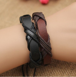 Wholesale Leather Wholesale Prices - 2015 Genuine Leather Braided Bracelets Punk cross Hemp Lover's Wristband Men's Handmade New Arrival women Fashion Factory price 12pcs