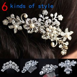 Wholesale Diamante Hair Bands - Women Girls Bridal Wedding Silver Crystal Rhinestone Diamante Flower Hair Clip Comb Pin Apparel Accessories Headwear Hair Combs