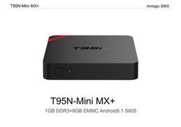 Wholesale Mx Smart Box - Android OTT TV Box T95N Mini MX Amlogic S905X Quad core 6.0 OS fully loaded Smart Streaming Media Player 1G+8G better than MXQ pro