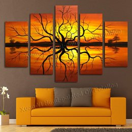 Wholesale Wall Scenery Pictures - 5 Pieces Handmade Wall Art Modern Abstract Scenery Sunset Tree Lake Picture Oil Painting On Canvas For Living Room home decor