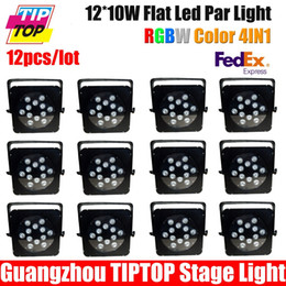 Wholesale Dmx 8ch - Wholesale-Free shipping 12pcs lot,12pcs 10w RGBW LED Flat Lighting Fixture 12x10W Taiwan LED Stage Lighting DMX 8CH 90V-260V Quar Par Cans