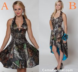 Wholesale Custom Print Wedding Dress - Newest fashion 2017 short Camo A line wedding dresses summer sea beach bridal gowns halter knee length backless wedding party dresses