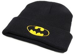 Wholesale Batman Tops - Fashion Men Women Beanie Skull Caps Unisex Knitted Crochet Winter Warm Beanie Hats Party Cool Cap BATMAN Style Embroidery Beanies Hat