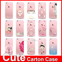 Wholesale Character Phone Cases - Cute Cartoon Characters Lovely Ultra Thin Transparent Soft TPU Phone Case Back Cover for Apple iPhone 6 6S 4.7 inch Funda MOQ:50pcs