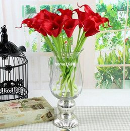 Wholesale White Calla Lily Artificial Flowers - 10pcs lot, Calla Lily Real Touch Home Decorative Flower Artificial PVC Flower Wedding Flower Calla 312387-H