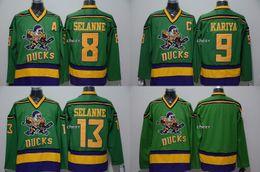 2019 camisas de hóquei verde em branco 2015 atacado das mulheres dos homens das crianças Anaheim Ducks of Anaheim 8 selanne 9 kariya 13 selanne Blank GREEN Turn Back Hockey Jerseys FRETE GRÁTIS desconto camisas de hóquei verde em branco