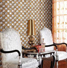 Wholesale Deco Mesh Wholesale - Alumnium mosaic tiles penny round flower design wall tiles shower kitchen room wall mounted mesh pattern glaze metal design luxury home deco
