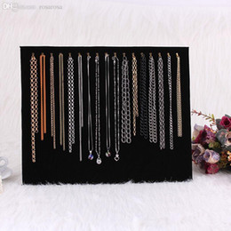 Wholesale Jewelry Holders For Necklaces - Wholesale-New 17 Gold Hooks Black Suede Jewelry Display Board for Necklace Bracelet Chain Utility Holder#63630