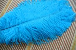 Penas de avestruz para casamentos on-line-FRETE GRÁTIS 100 pçs / lote 12-14 polegada (30-35 cm) turquesa pena de avestruz para o casamento decorações de mesa de mesa central de casamentos