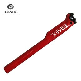 Wholesale Red Bike Seat - TMAEX-Red Paint Glossy Carbon Seat post MTB Road Bike Seat post 27.2 30.8 31.6*350 400 Offset Setback Seat post Bicycle parts