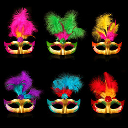 Wholesale silver party masks - Multi Color Feather PVC Princess Mask Sexy Hallowmas Venetian Bauta Mask Half Face Party Dance Mask Masquerade Cosplay Decor