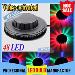 Wholesale Rotating Dj Disco Lights - DHL free shipping 48 LED Mini Auto&Voice-activated Rotating Party Lighting Sunflower LED Lights RGB Disco DJ KTV Stage Lidht