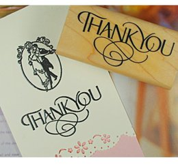 Wholesale Invitation Stamps - Thank You DIY Wood Stamp Creative Art Decoration Invitation Card Scrapbooking Stamp Promotion Gift 5pcs SK769